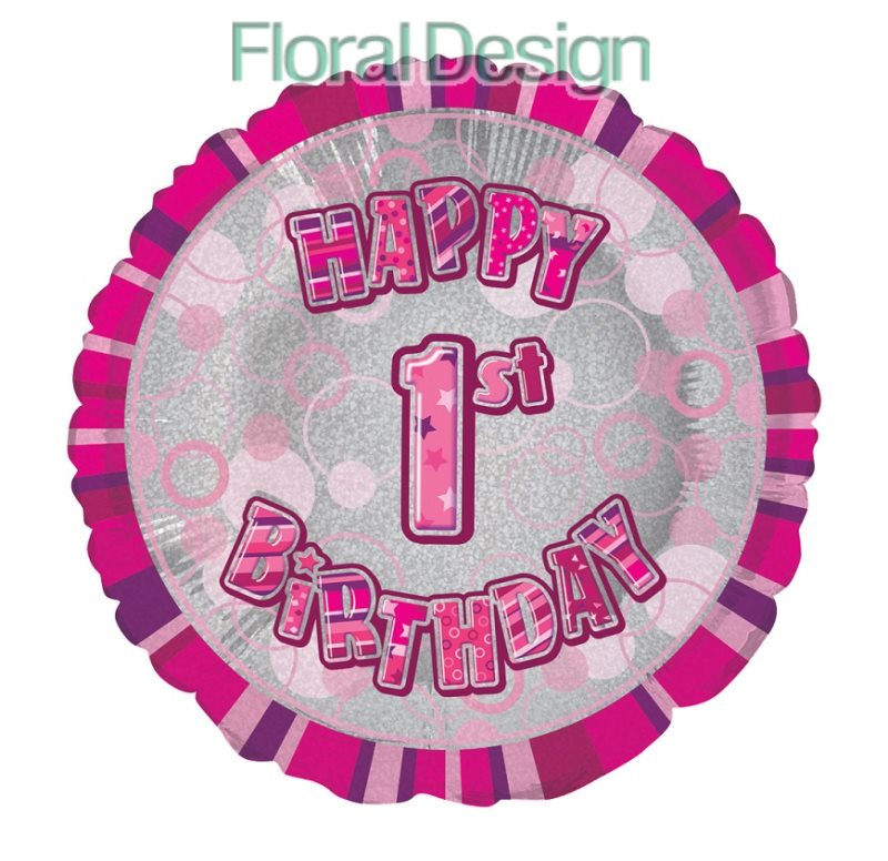 Balonek 45cm folie 1-Happy Birthday pink
