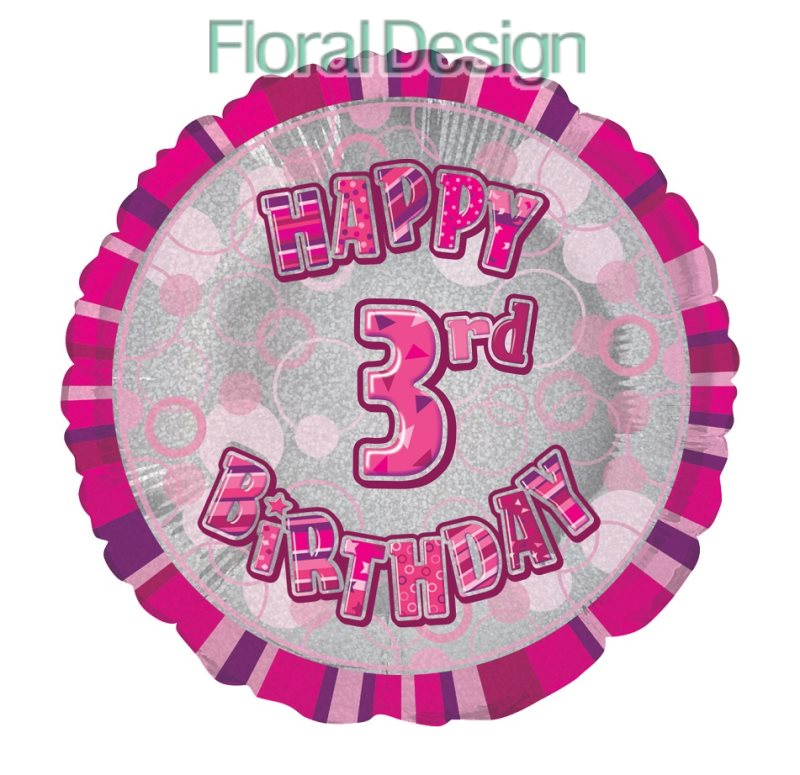 Balonek 45cm folie 3-Happy Birthday pink