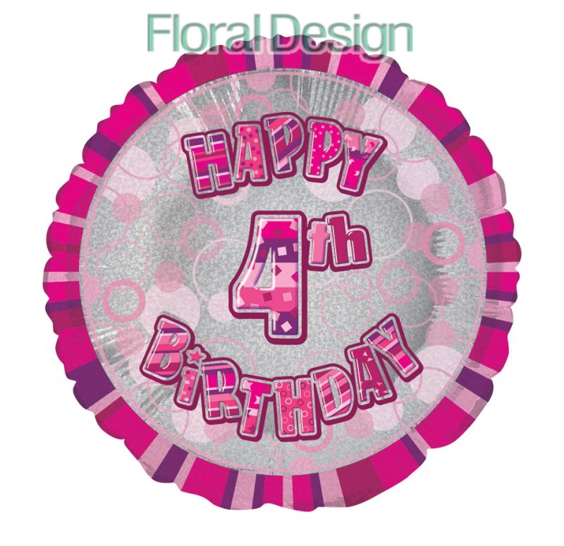 Balonek 45cm folie 4-Happy Birthday pink