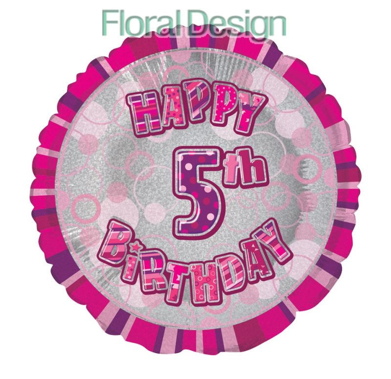 Balonek 45cm folie 5-Happy Birthday pink