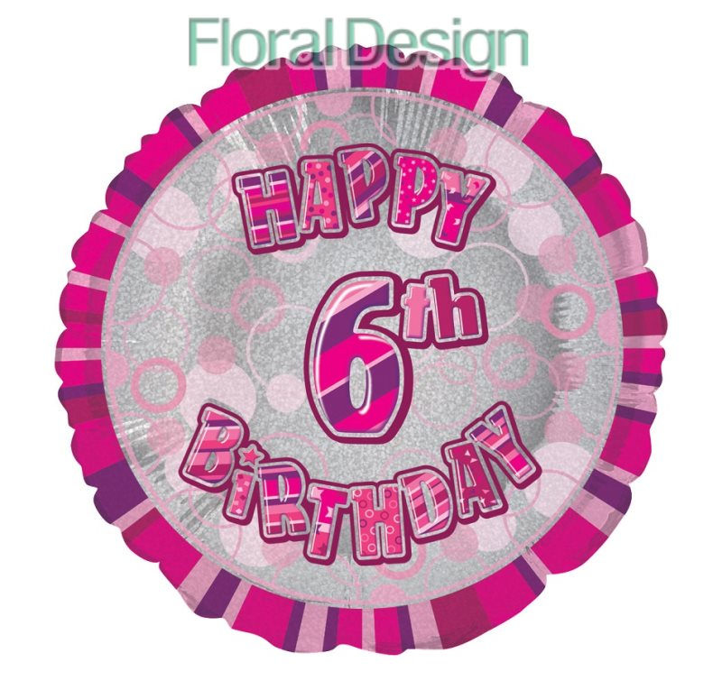 Balonek 45cm folie 6-Happy Birthday pink