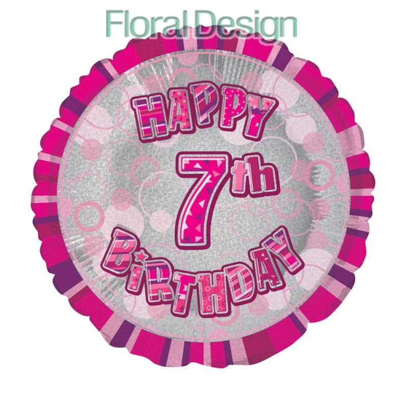 Balonek 45cm folie 7-Happy Birthday pink