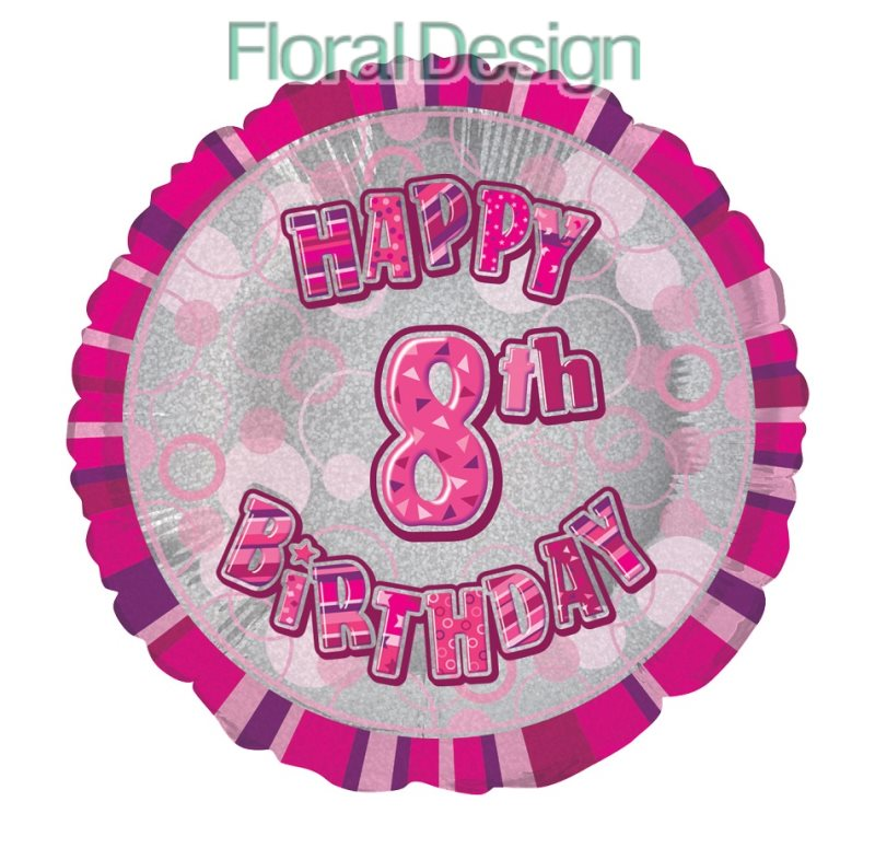 Balonek 45cm folie 8-Happy Birthday pink