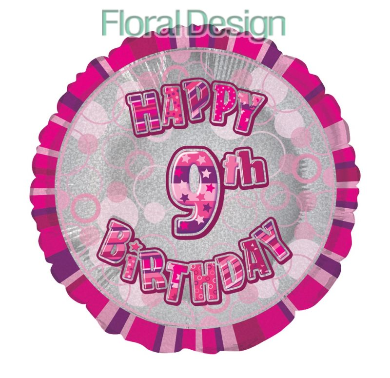 Balonek 45cm folie 9-Happy Birthday pink