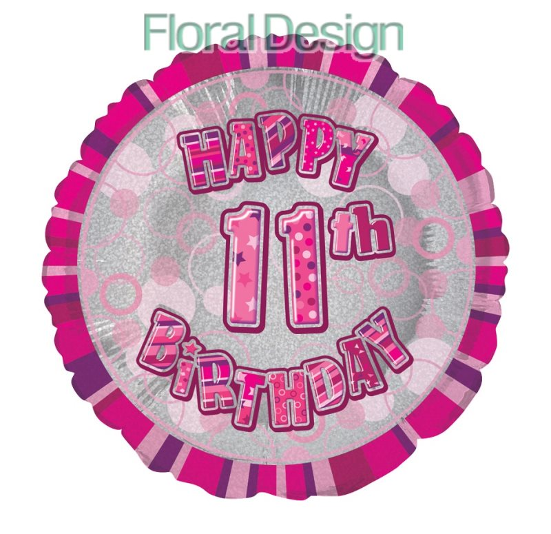 Balonek 45cm folie 11-Happy Birthday pink