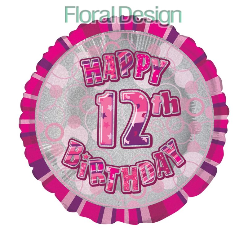 Balonek 45cm folie 12-Happy Birthday pink
