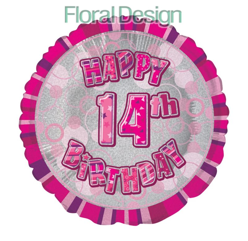 Balonek 45cm folie 14-Happy Birthday pink