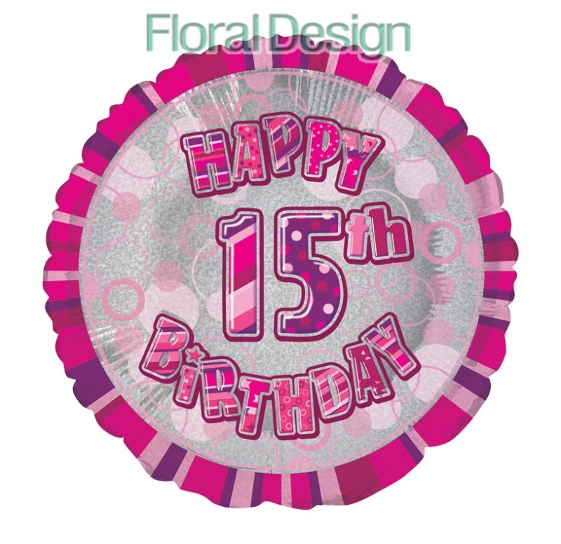Balonek 45cm folie 15-Happy Birthday pink