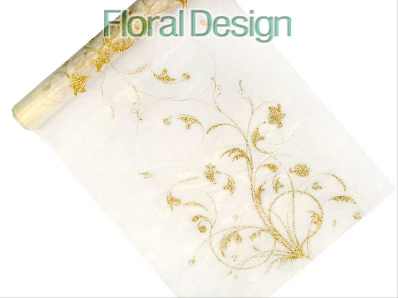 Organza cream 36mm x 9m - zlatý ornament