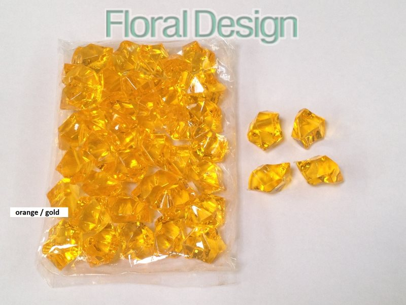Diamant plast 20mm orange / gold